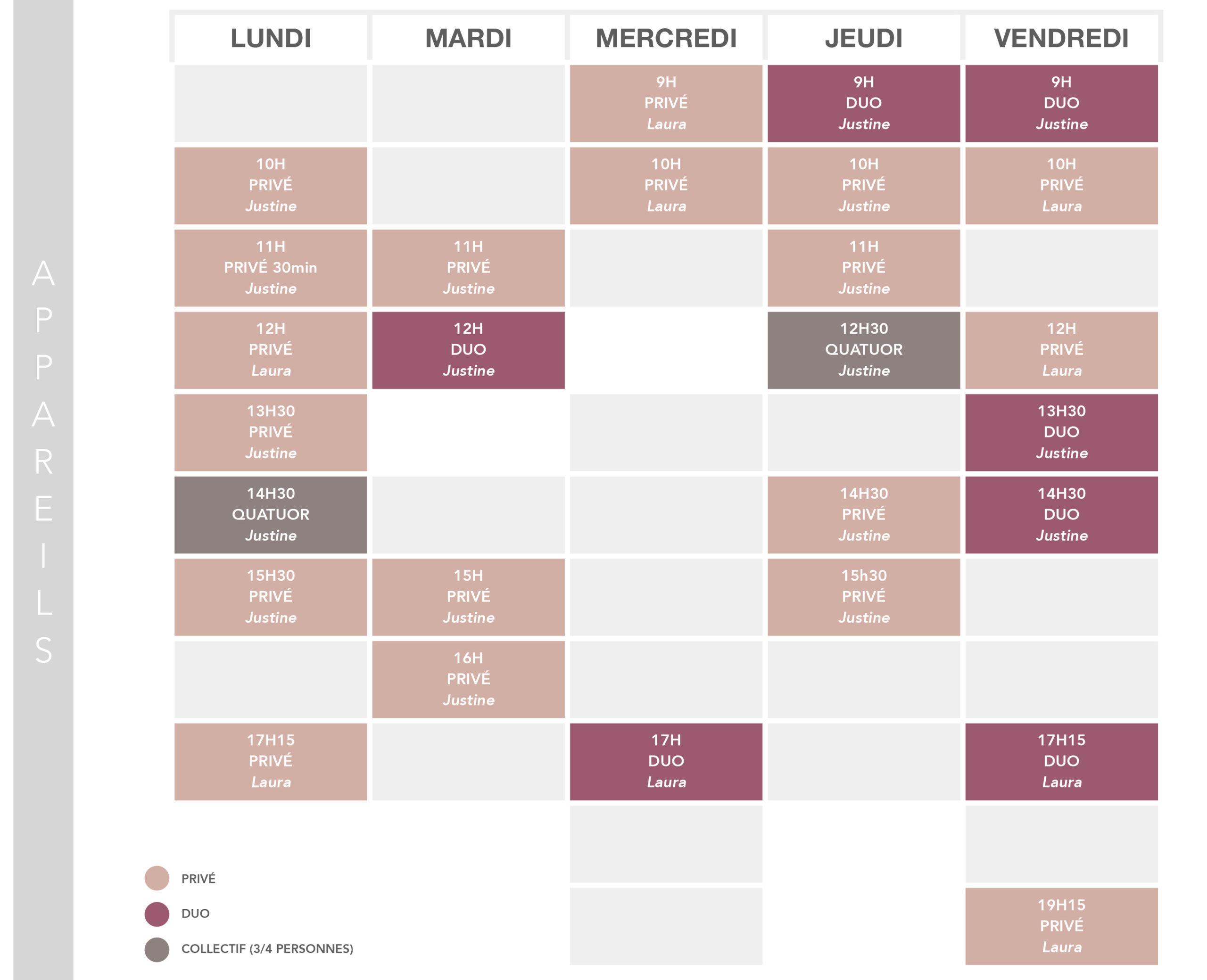 Studio pilates Corps & Esprit - PLanning cours appareils