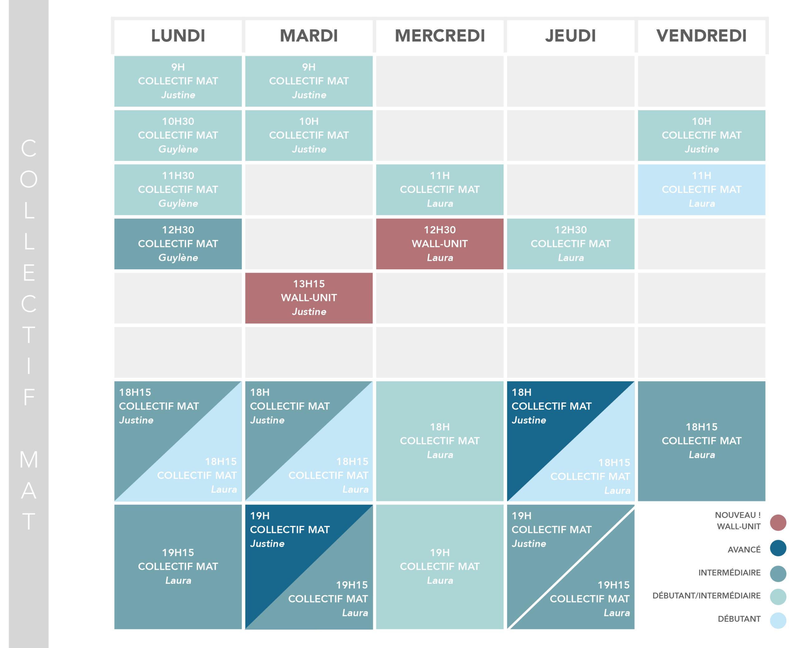 Studio pilates Corps & Esprit - PLanning cours collectifs